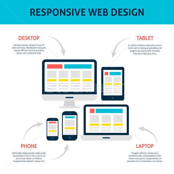 Reszponzív web design infografika laptop asztali tabletta Stock fotó © Anna_leni