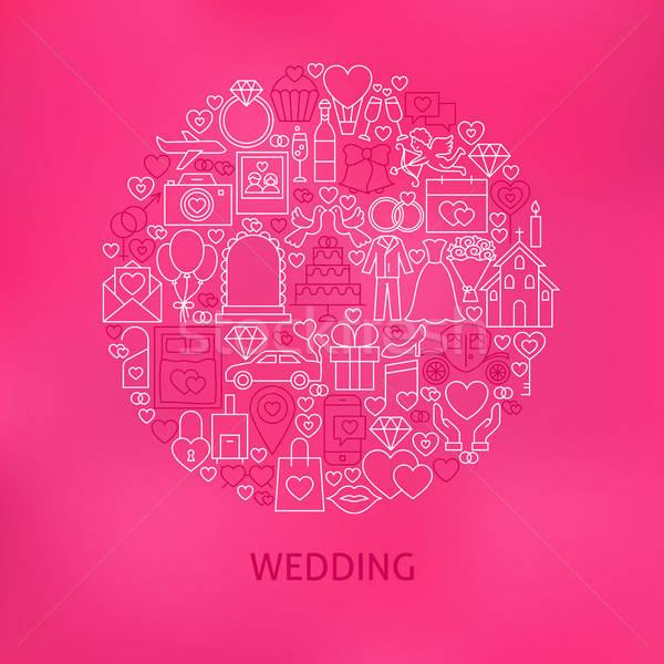 Line Wedding Icons Circle Concept Stock photo © Anna_leni