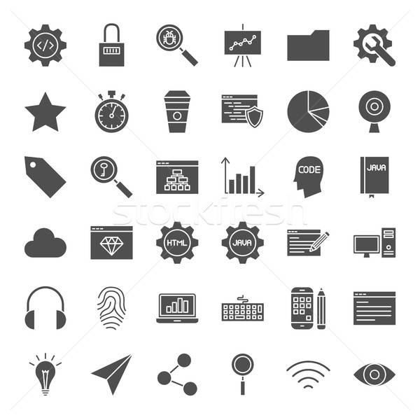Web Development Solid Icons Stock photo © Anna_leni