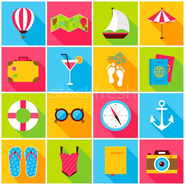 Nyár színes ikonok ikon szett téglalap utazás Stock fotó © Anna_leni