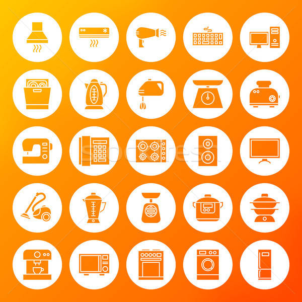 Household Circle Solid Icons Stock photo © Anna_leni