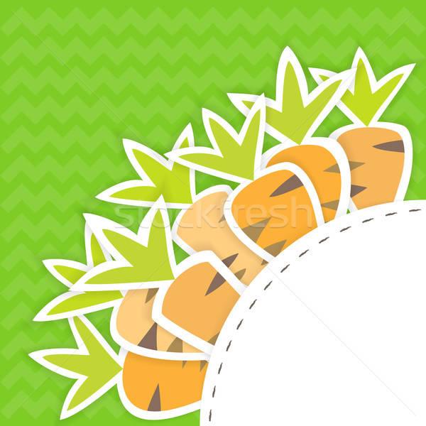 Orientale carottes modèle vert Pâques anniversaire Photo stock © Anna_leni