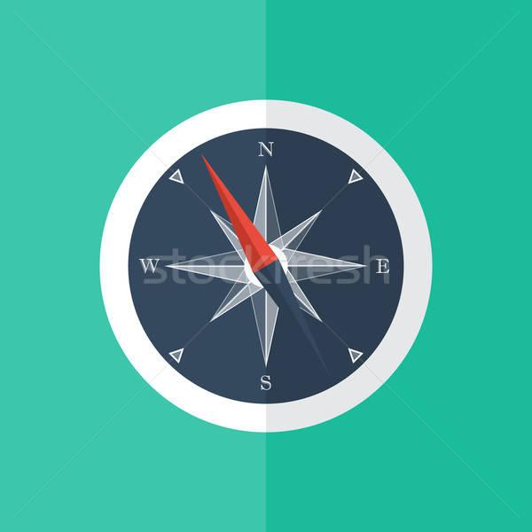 White compass circle icon Stock photo © Anna_leni