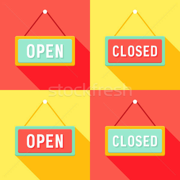 Yellow Red Cyan Open and Closed Signs Set Stock photo © Anna_leni