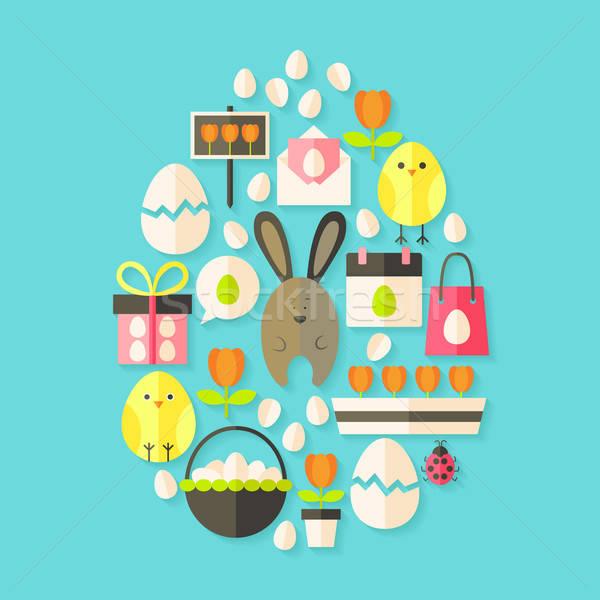 Stock fotó: Húsvét · ünnep · ikon · szett · tojás · alakú · árnyék
