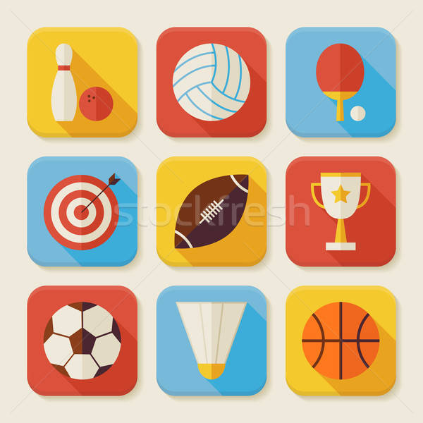 Flat Sport and Activities Squared App Icons Set Stock photo © Anna_leni