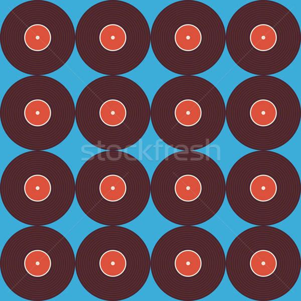 Végtelen minta zene bakelit lemez kék stílus Stock fotó © Anna_leni