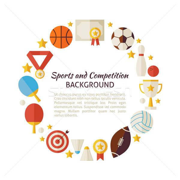 Flat Style Vector Circle Template of Sport Recreation and Compet Stock photo © Anna_leni