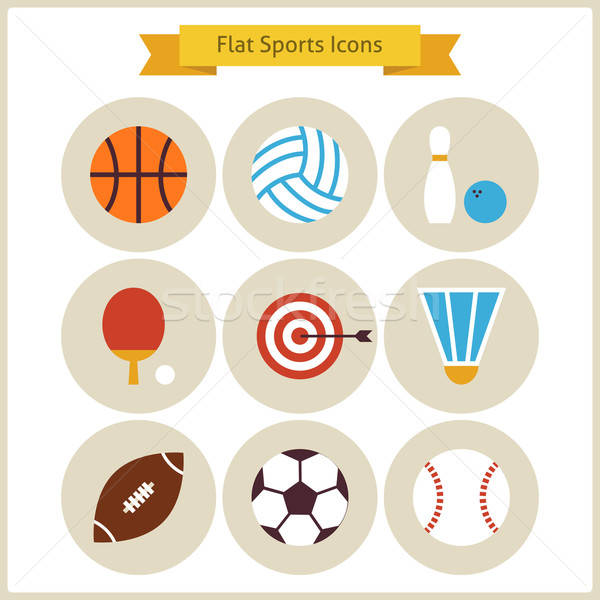 Flat Sport and Recreation Icons Set Stock photo © Anna_leni