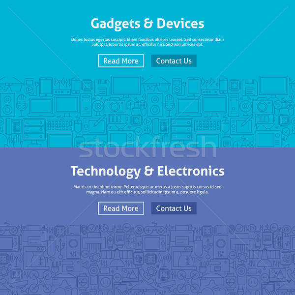 Gadgets and Devices Line Art Web Banners Set Stock photo © Anna_leni