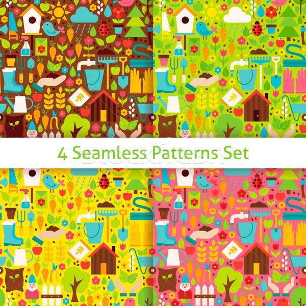 Four Flat Spring Garden Seamless Patterns Set Stock photo © Anna_leni