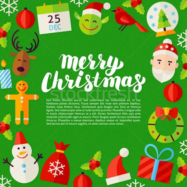 Stok fotoğraf: Neşeli · Noel · poster · kış · tatil · tebrik · kartı