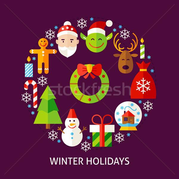 Inverno férias cartão postal cartaz projeto coleção Foto stock © Anna_leni