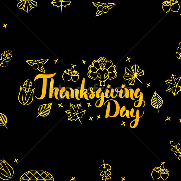 Thanksgiving Day Gold and Black Design Stock photo © Anna_leni