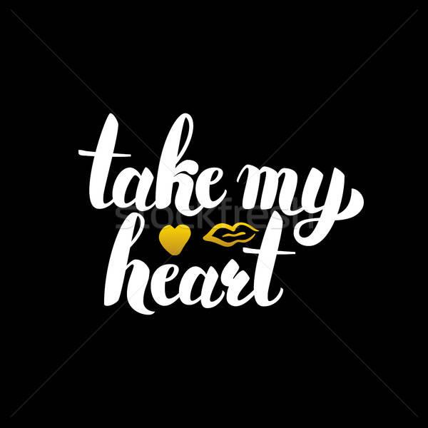 Benim kalp kaligrafi sevmek Stok fotoğraf © Anna_leni