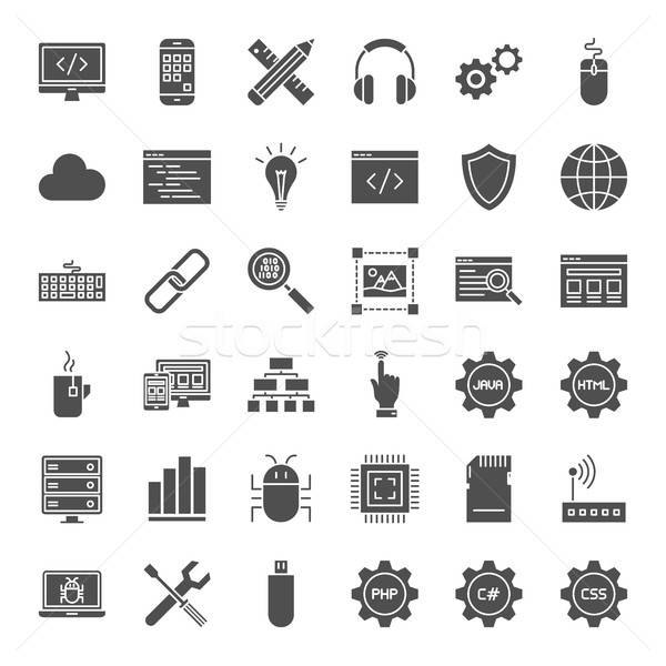 Programmering solide web icons vector collectie moderne Stockfoto © Anna_leni