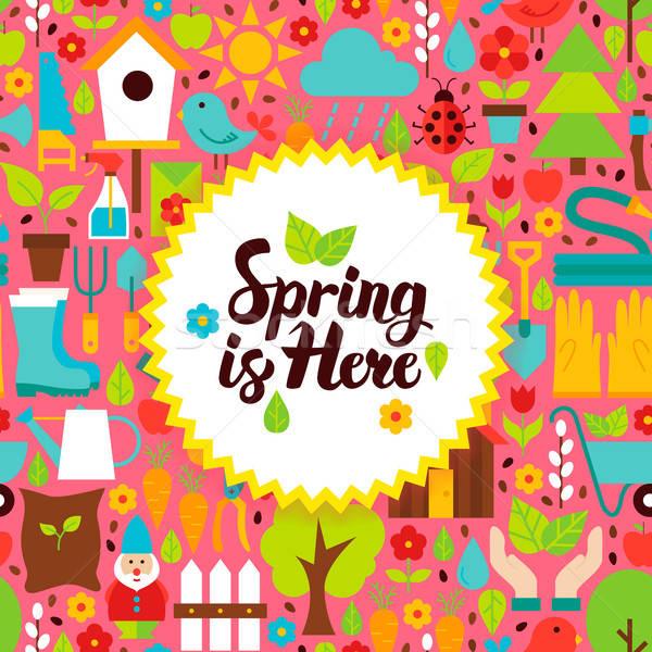 春 ここで はがき 自然 庭園 ポスター ストックフォト © Anna_leni