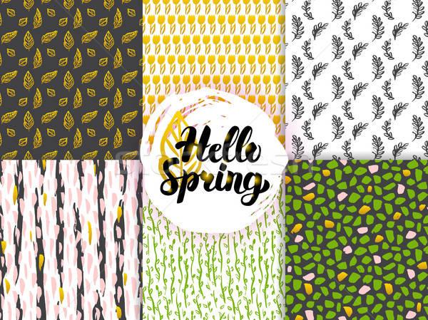 Természet tavasz trendi végtelenített minták növények csempe Stock fotó © Anna_leni