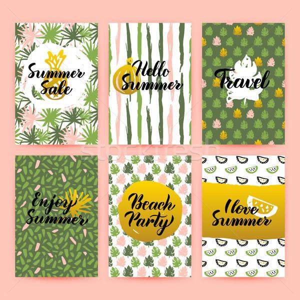Hello Summer Trendy Brochures Stock photo © Anna_leni
