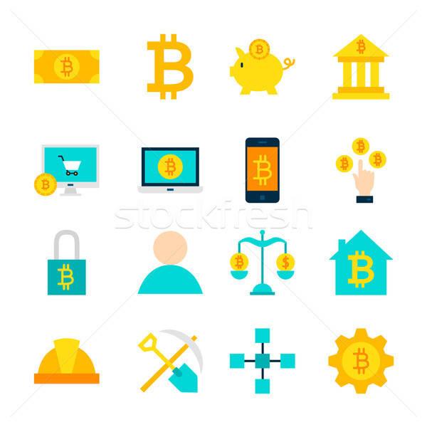 Bitcoin tárgyak szett pénzügyi izolált fehér Stock fotó © Anna_leni
