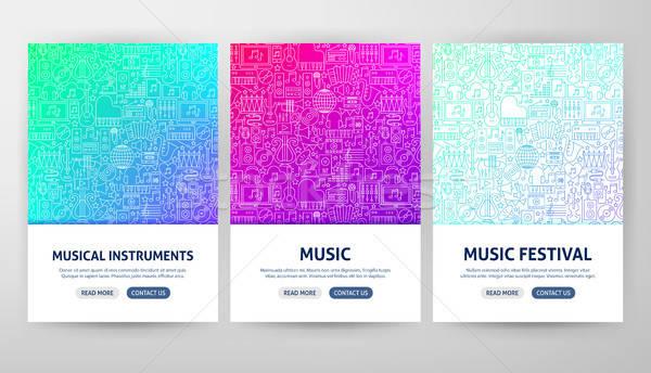 Muziek flyer schets web banner Stockfoto © Anna_leni