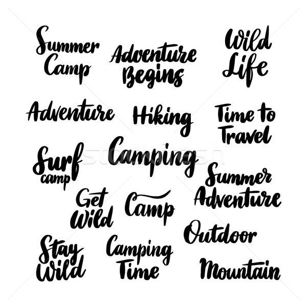 Camping Hand Drawn Lettering Stock photo © Anna_leni