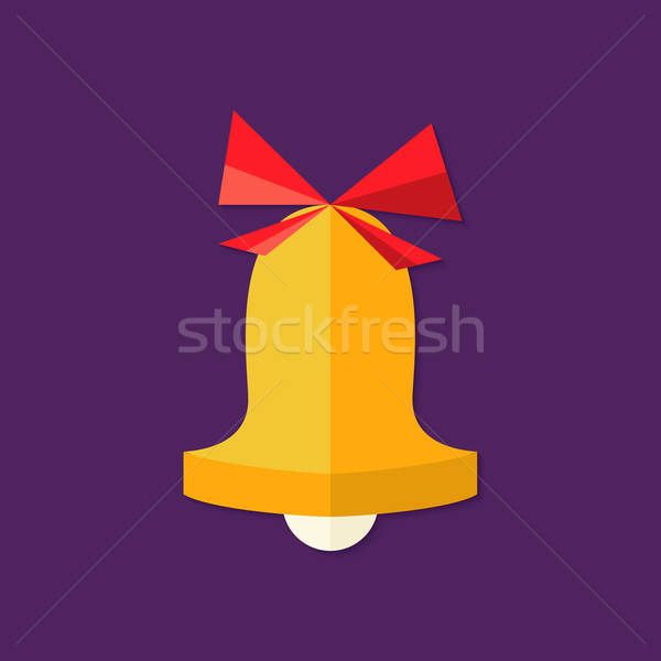Christmas Bell with Bow Flat Icon Stock photo © Anna_leni