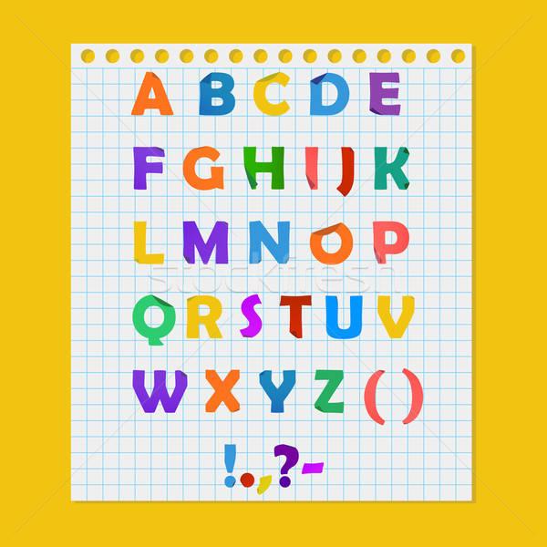 Teljes színes papír ábécé illusztráció levél Stock fotó © Anna_leni