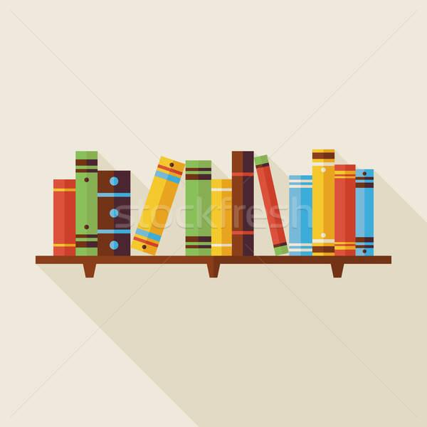 Prateleira de livros leitura livros ilustração sombra de volta à escola Foto stock © Anna_leni