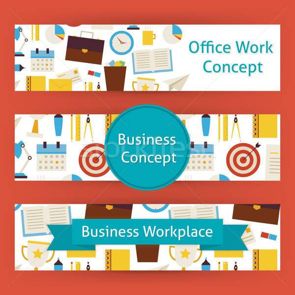 Office Work Concept Vector Template Banners Set in Modern Flat S Stock photo © Anna_leni