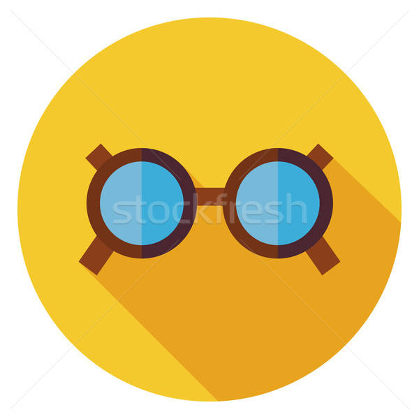 Flat Accessory Glasses Circle Icon with Long Shadow Stock photo © Anna_leni