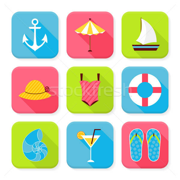 Flat Summer Holidays and Resort Squared App Icons Set Stock photo © Anna_leni