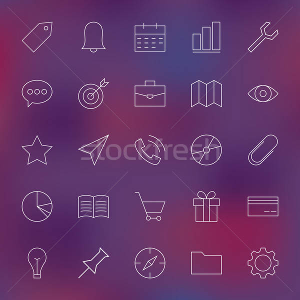 Universal Web and Mobile User Interface Line Icons Set over Blur Stock photo © Anna_leni