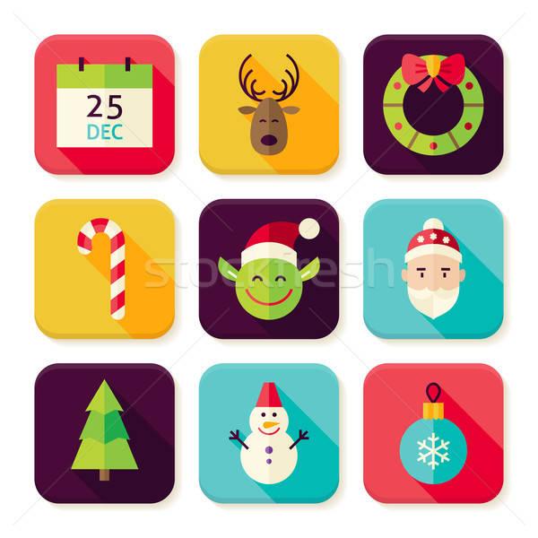 Сток-фото: веселый · Рождества · Новый · год · квадратный · приложение