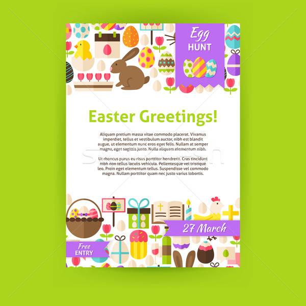 Kellemes húsvétot ünnep vektor meghívó sablon poszter Stock fotó © Anna_leni