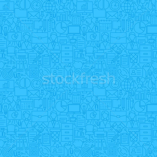 Thin Line Blue Office Business Seamless Pattern Stock photo © Anna_leni