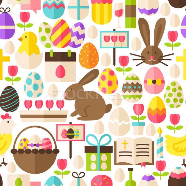 Joyeuses pâques vecteur design blanche carrelage Photo stock © Anna_leni