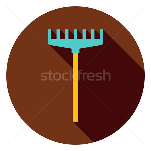 Rake Garden Tool Circle Icon Stock photo © Anna_leni