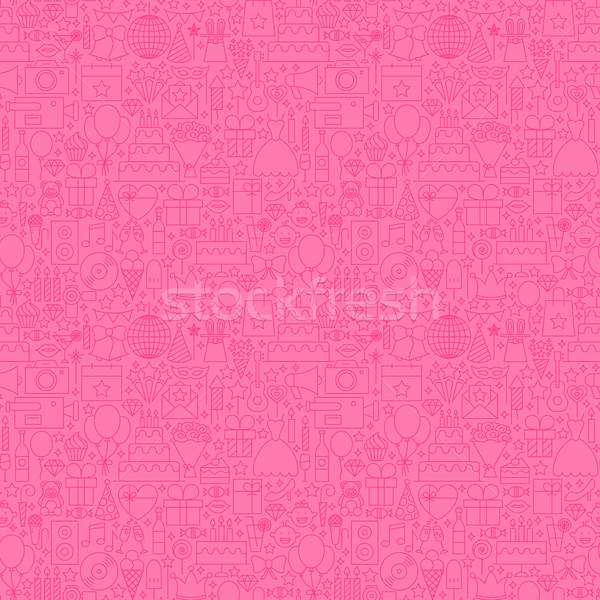 Pink Line Birthday Seamless Pattern Stock photo © Anna_leni