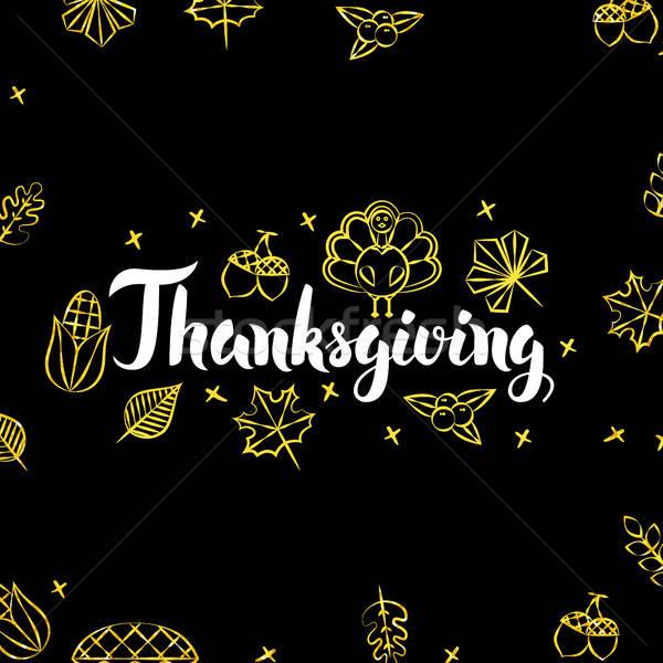Hálaadás arany fekete képeslap szezonális ünnep Stock fotó © Anna_leni