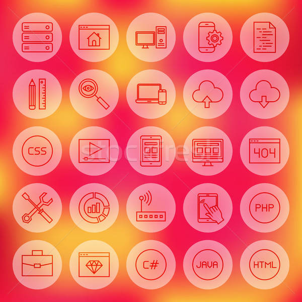 Line Circle Web Coding Icons Stock photo © Anna_leni
