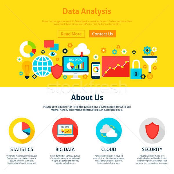 Dados análise web design estilo site bandeira Foto stock © Anna_leni