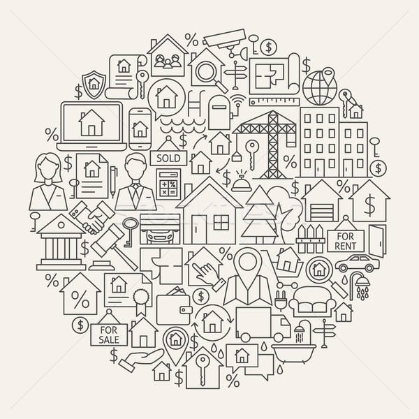 Real Estate Line Icons Circle Stock photo © Anna_leni