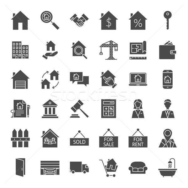 Inmobiliario sólido iconos de la web vector establecer casa Foto stock © Anna_leni