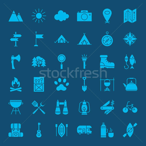 Hiking Outdoor Solid Web Icons Stock photo © Anna_leni