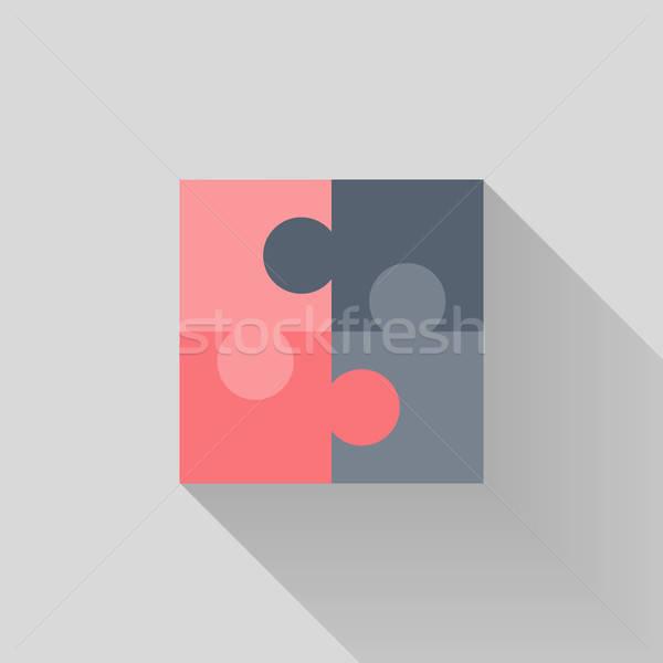 Puzzle ikon háttér csoport tárgy csapatmunka Stock fotó © Anna_leni