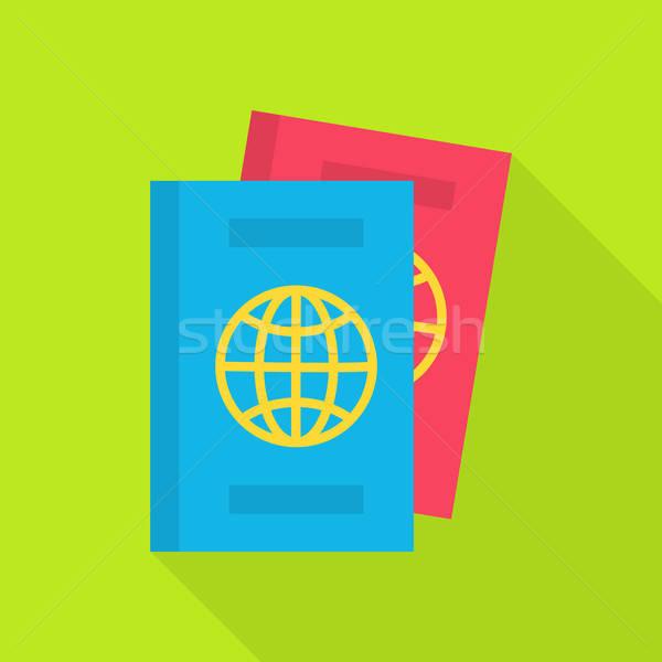 Passeport longtemps ombre documents papier monde Photo stock © Anna_leni