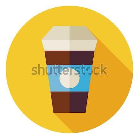 Stockfoto: Warme · drank · koffiekopje · cirkel · icon · lang · schaduw