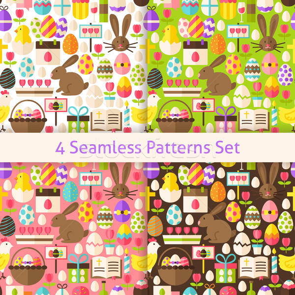 Four Vector Flat Happy Easter Holiday Seamless Patterns Set Stock photo © Anna_leni