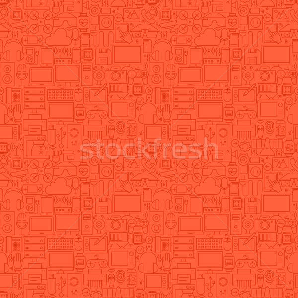 Red Thin Line Technology Devices Seamless Pattern Stock photo © Anna_leni